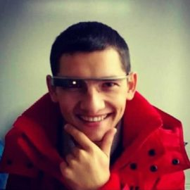 Casually wearing a Google Glass.